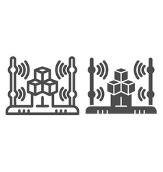 3d scanning system line and glyph icon 3d cube vector image