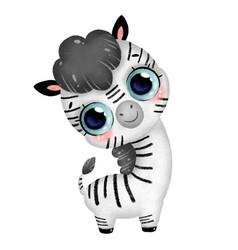 a cute cartoon baby zebra with big eyes vector image