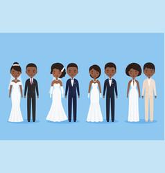 African bride and groom cartoon characters vector