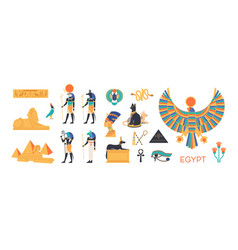 ancient egypt set - gods deities of egyptian vector image