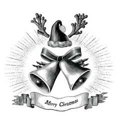 antique engraving of christmas black and white vector image