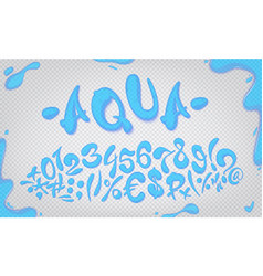aqua hand drawn signs and numbers vector image