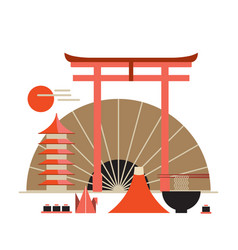 asia design elements collection welcome to japan vector image