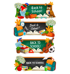 back to school education cartoon banners vector image