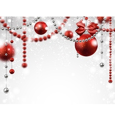Background with red christmas baubles vector image
