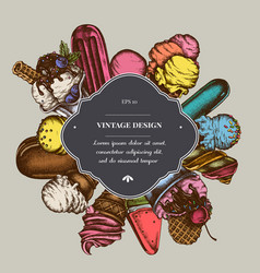 Badge over design with ice cream bowls popsicle vector