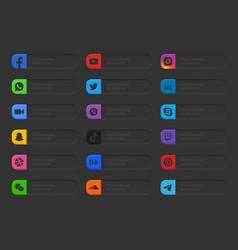 Banners popular social media lower third icons set vector
