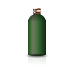 blank green cosmetic round bottle with copper lid vector image