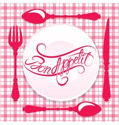 Bon appetit calligraphy red 380 vector