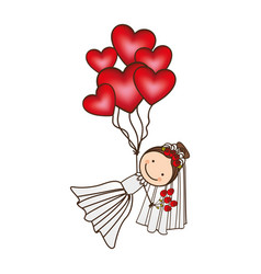 Bride with red heart balloons in the hands vector
