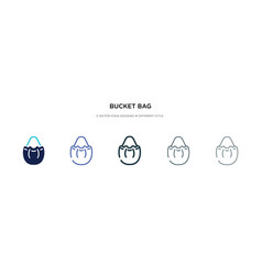 bucket bag icon in different style two colored vector image