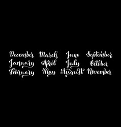 Calligraphic set of months of the year december vector