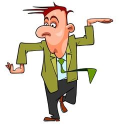 Cartoon man in suit and tie funny dancing vector