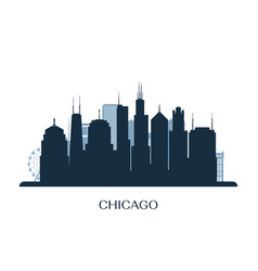 chicago skyline monochrome silhouette vector image