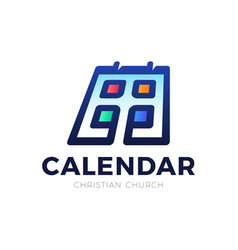 christian calendar logo filled flat sign vector image