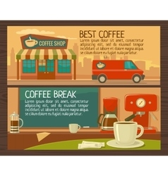 Coffee service in shop and cafe Flat vector image