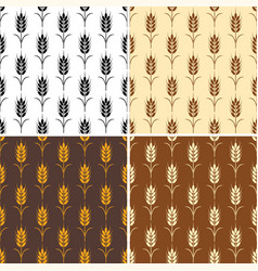 collection of seamless repeating wheat patterns vector image