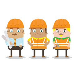 colorful construction workers in helmets for vector image