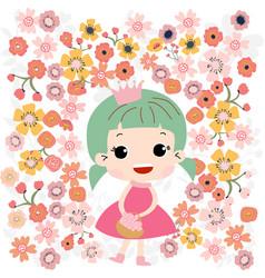 cute baby girl in flower garden vector image