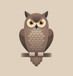 cute owl on light brown background vector image