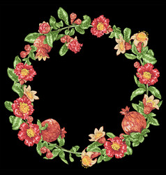 Decorative border frame wreath with pomegranate vector