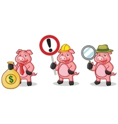 Deep Pink Pig Mascot with sign vector