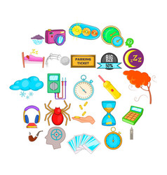 Detect time icons set cartoon style vector