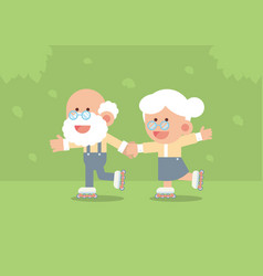 elderly couple skating on rollerblades vector image