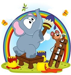 Elephant and mouse draw rainbow vector