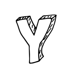 English alphabet - hand drawn letter Y vector