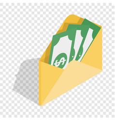 Envelope with money isometric icon vector
