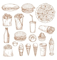 Fast Food sketch icons vector image