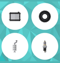 flat auto set of heater silencer wheel and other vector image