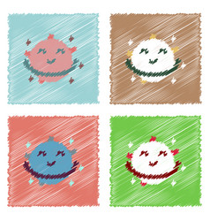 Flat icon design collection smiling satellite in vector