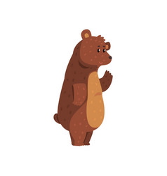 Friendly smiling bear waving his paw funny vector