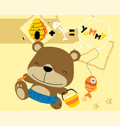 funny cartoon fishing with little bear vector image