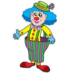 funny clown in big pants vector image