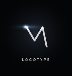 futurism style letter m minimalist type for vector image
