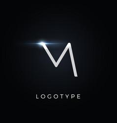 futurism style letter m minimalist type vector image