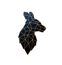 geometric kangaroo golden polygonal vector image