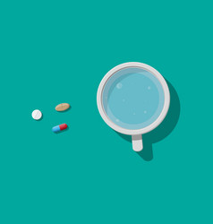Glass of water and pills taking medication vector