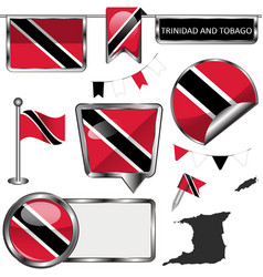 Glossy icons with flag trinidad and tobago vector