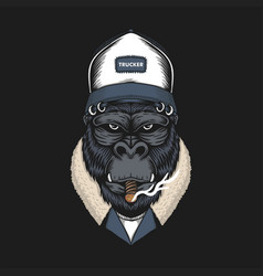 Gorilla head trucker vector