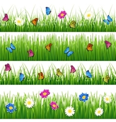 Green grass with flowers and butterflies Seamless vector