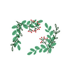 green twigs and berries frame natural design vector image