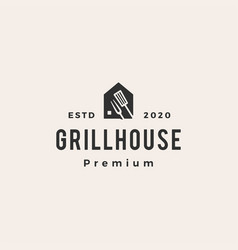 grill house fork hipster vintage logo icon vector image