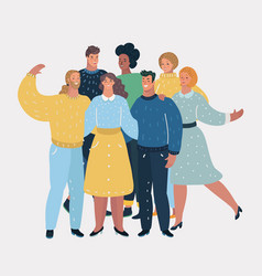 group happy talking friends vector image