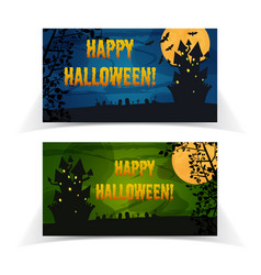 halloween party festive horizontal banners vector image