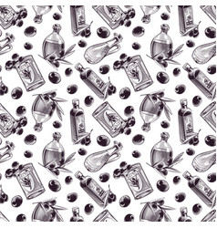 hand drawn seamless pattern olive oil vector image