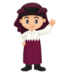 Happy boy from qatar in purple costume vector